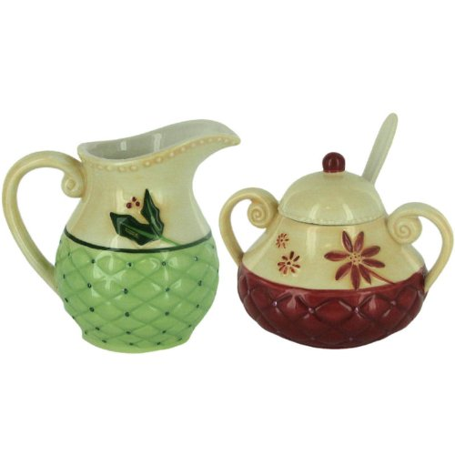 Christmas Traditions Ceramic Creamer Sugar Bowl by Russ Berrie