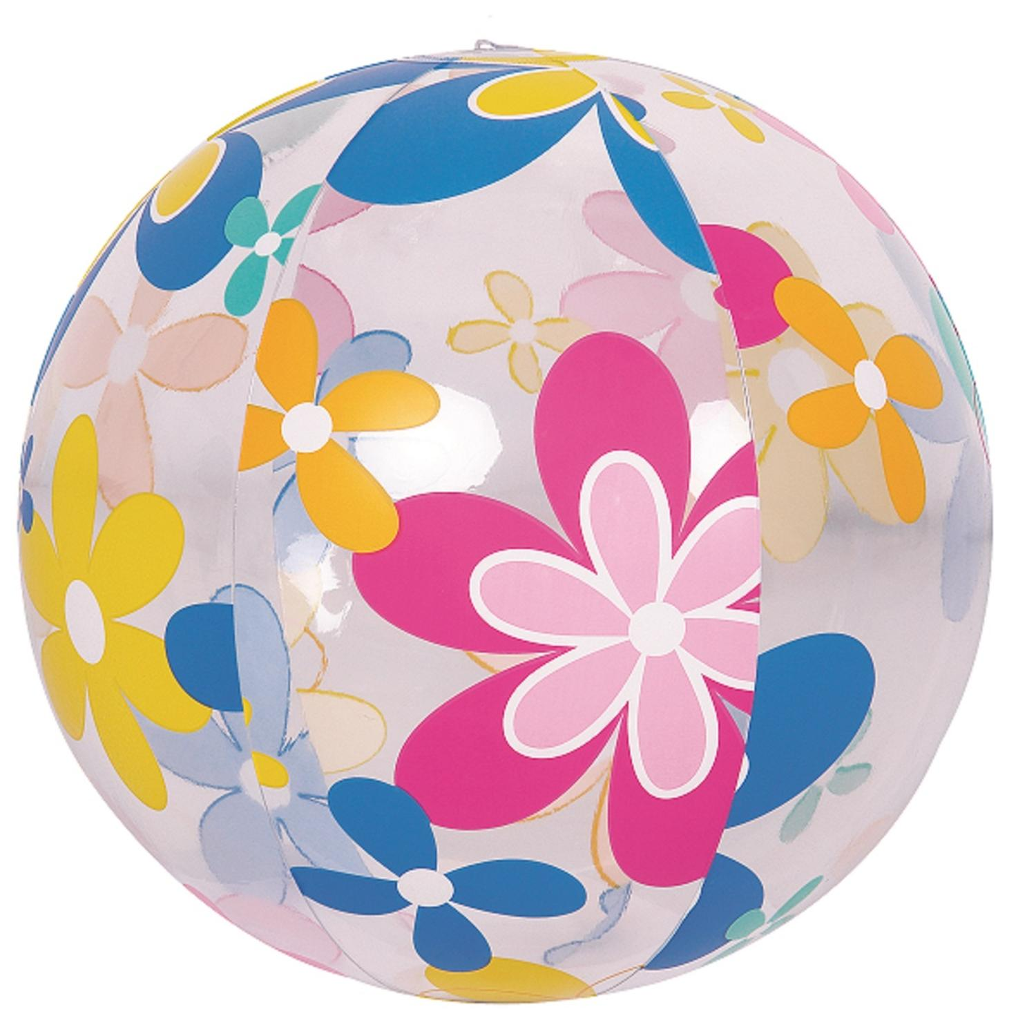 "20"" Colorful 6-Panel Flower Print Inflatable Beach Ball Swimming Pool Toy by Pool Central"