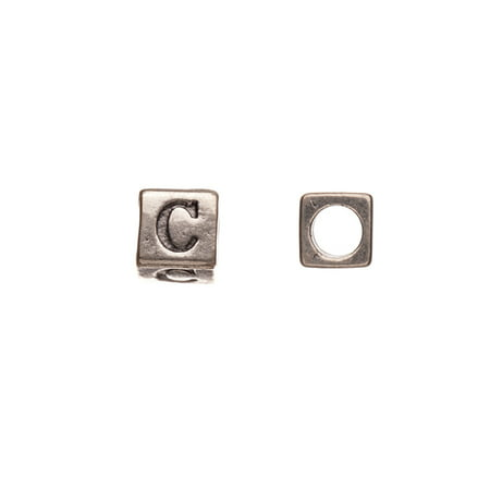 Pewter Alphabet Bead, Burnished Silver Plated, Letter C, 8mm Cube, 5.5mm Hole Sold per pkg of 10pcs per pack