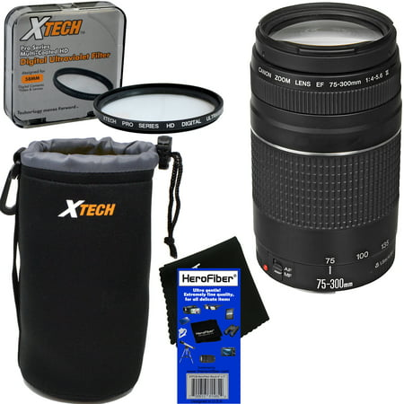 Canon EF 75-300mm f/4-5.6 III Telephoto Zoom Lens for EOS 7D, 60D, 70D, EOS Rebel SL1, SL2, SL3, T1i, T2i, T3, T3i, T4i, T5, T5i, T6, T6i, T6s, T7, T7i, XSi, & XTi DSLR Camera + 3pc Accessory