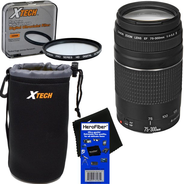 Canon EF 75-300mm f/4-5.6 III Telephoto Zoom Lens for EOS 7D, 60D, 70D, EOS Rebel SL1, SL2, SL3, T1i, T2i, T3, T3i, T4i, T5, T5i, T6, T6i, T6s, T7, T7i, XSi, & XTi DSLR Camera + 3pc Accessory Kit