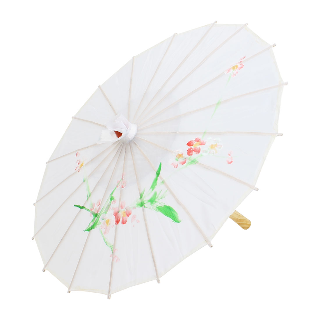 Flower Printed White Polyester Cover Bamboo Rib Folding Parasol Dancing Umbrella - image 4 of 4