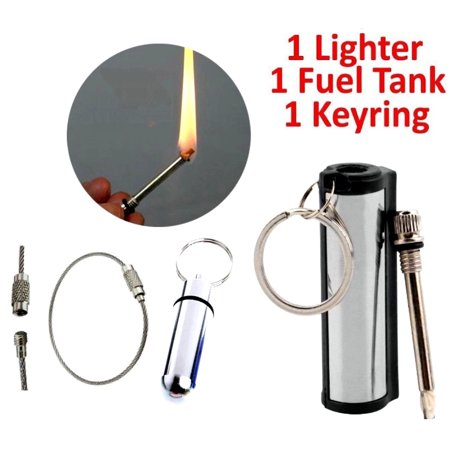 Striker Match Storm-proof Survival cigarette Lighter Fire Starter Emergency Waterproof  FREE Extra FUEL TANK & Key