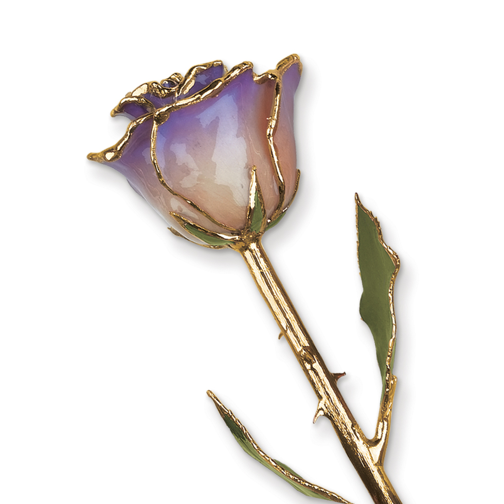 Lacquer Dipped Gold Trim White Blue Opal Rose Figurine Orchid Leaf K Trimmed Keepsake Floral Home Decor Flower For Women
