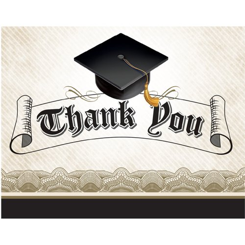 Cap And Gown Graduation Thank You Notes, 25pk