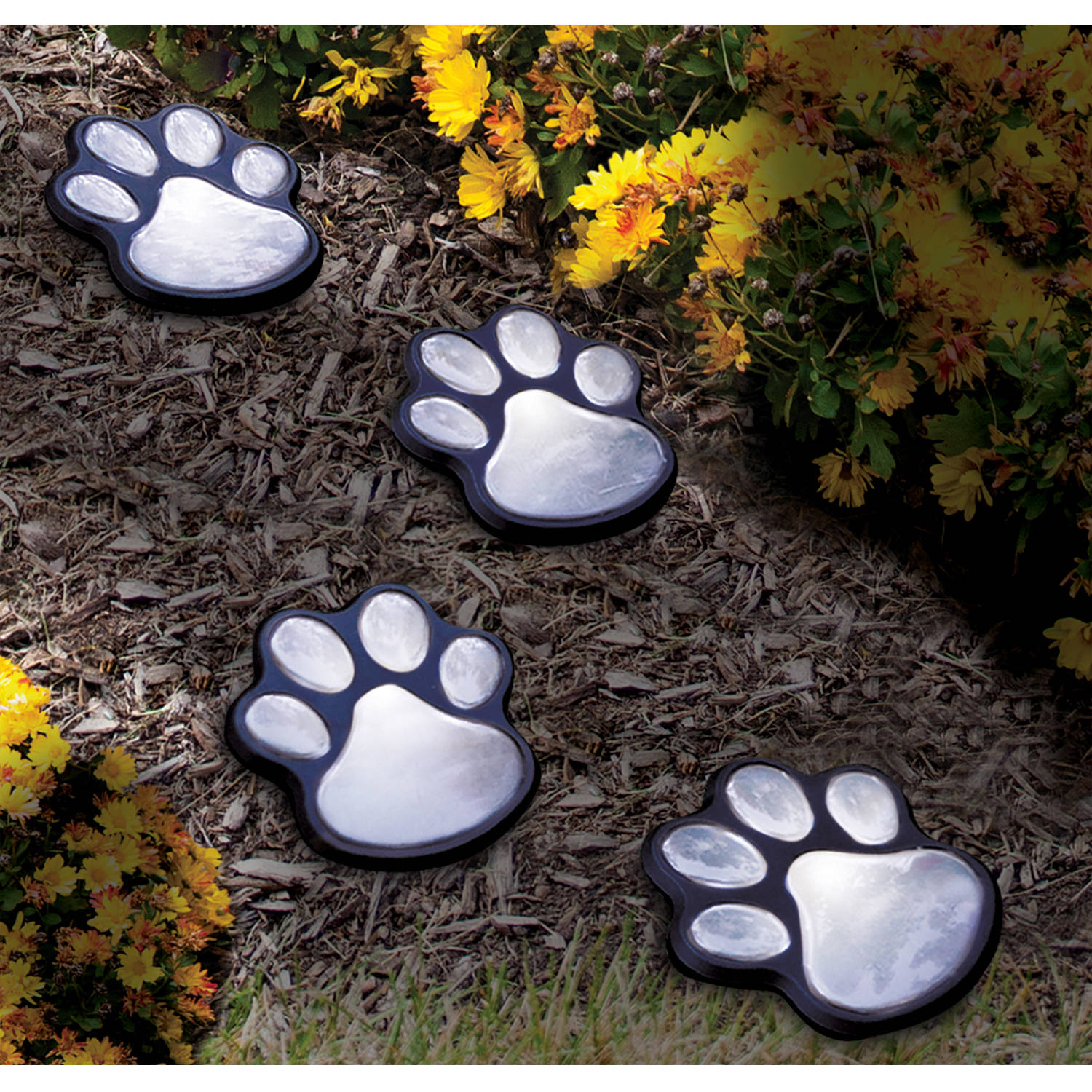 Ideaworks S/4 Solar Paw Print Lights, Black, Jb7356