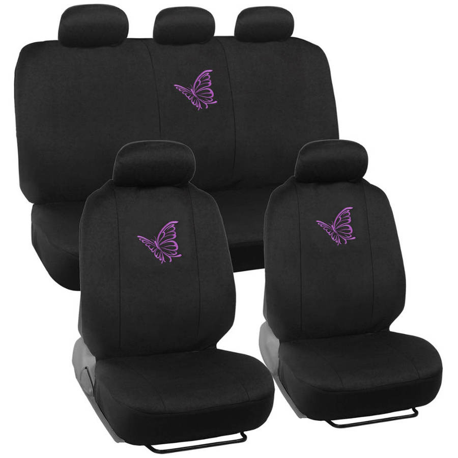 BDK Purple Butterfly Design Car Seat Covers, Full Set, 9 Piece