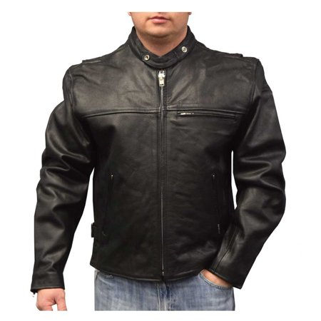 Redline Mens Lightweight Zip Out Liner Cowhide Leather Jacket  Black M 300
