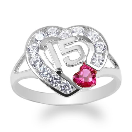 Ladies White Gold Plated 15 Anos Quinceanera Ruby Heart CZ Ring Size 4-10