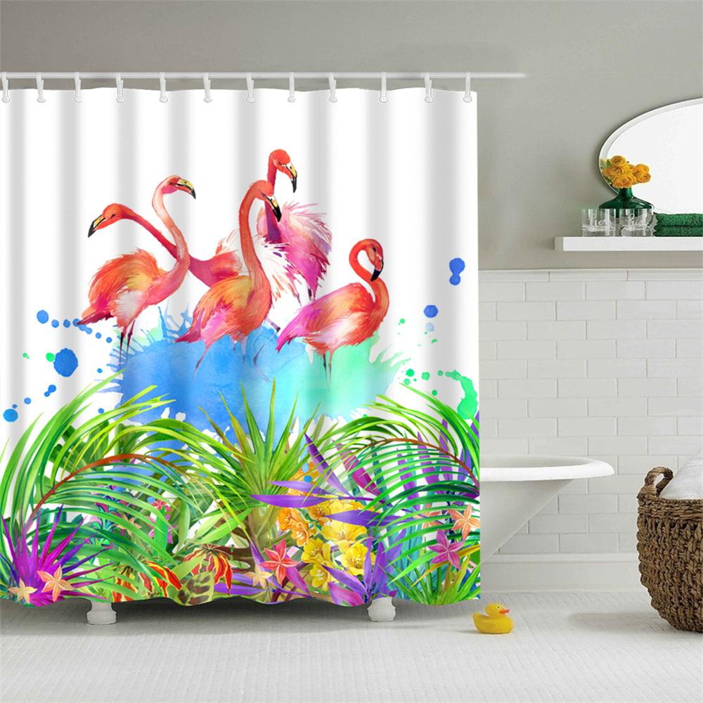 shower curtain cute flamingo tropical bird pink splash