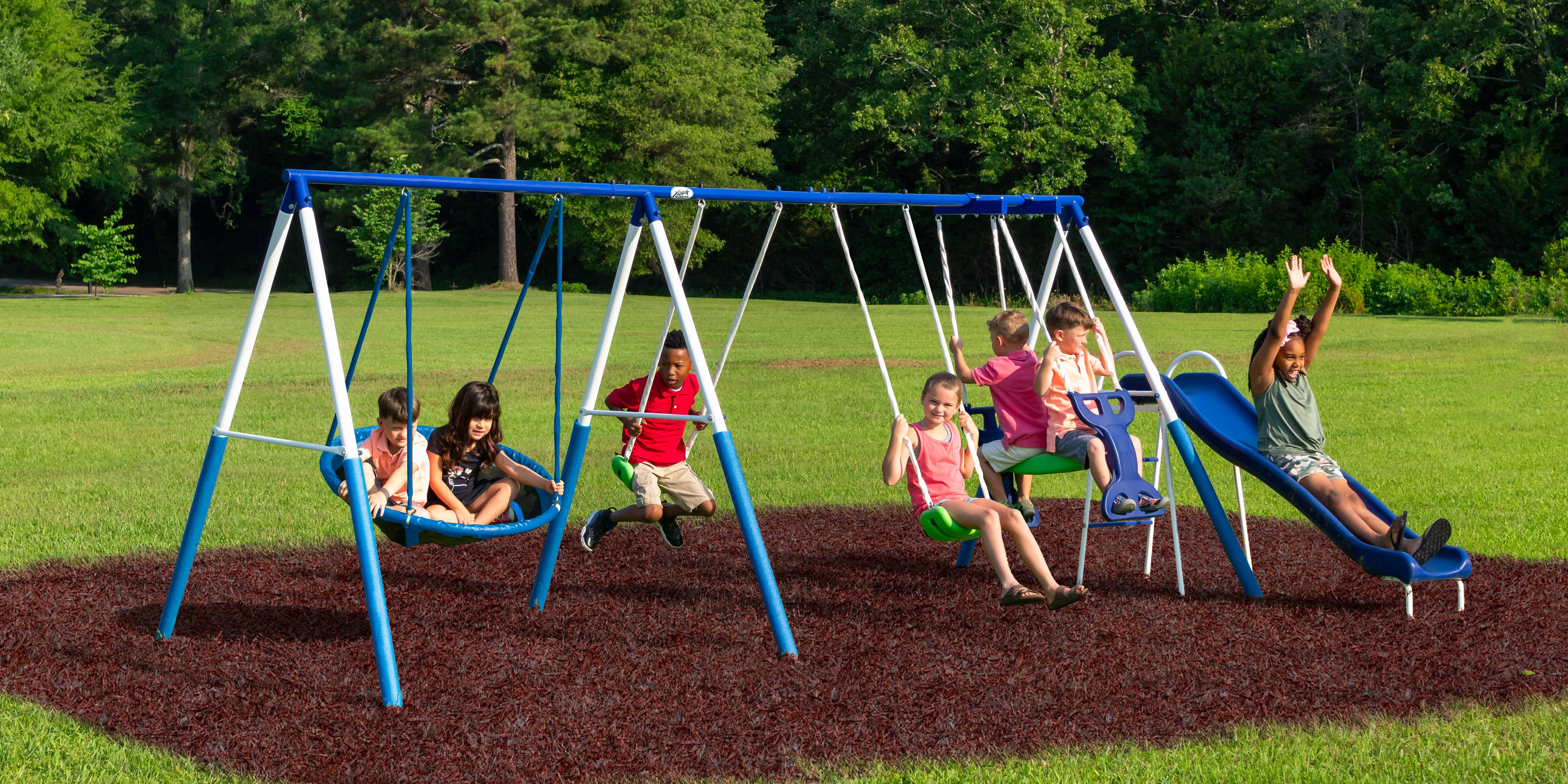 All Star Playground Metal Swing Set Outdoor Backyard ...