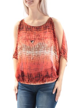 46f141265393f Product Image BCX Womens Orange Sheer W necklace Printed Kimono Sleeve Boat Neck  Top Size  S