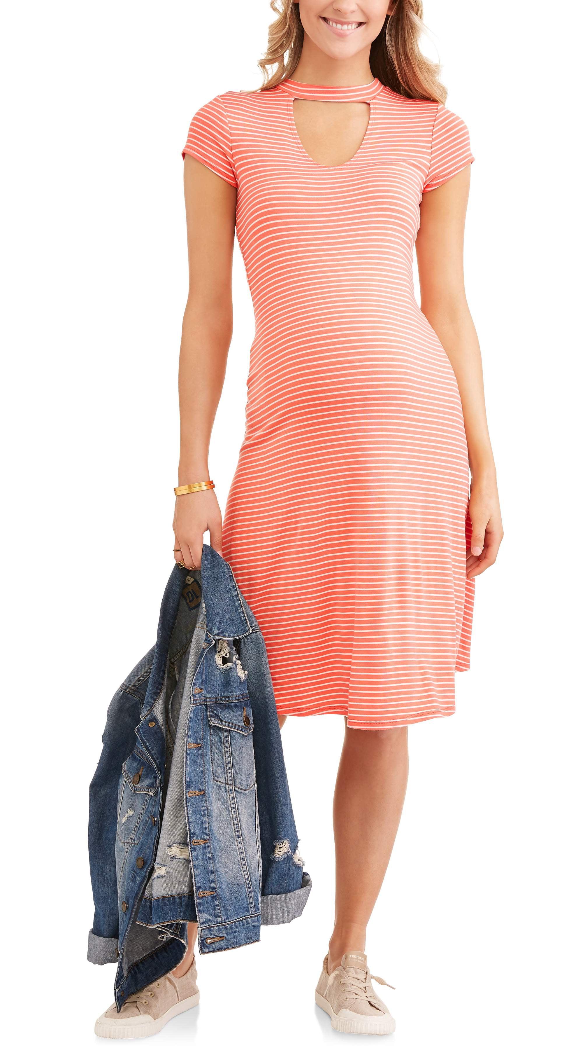 Maternity Short Sleeve Gigi Neck Swing Midi Dress by TOPSON DOWNS OF CALIFORNIA INC