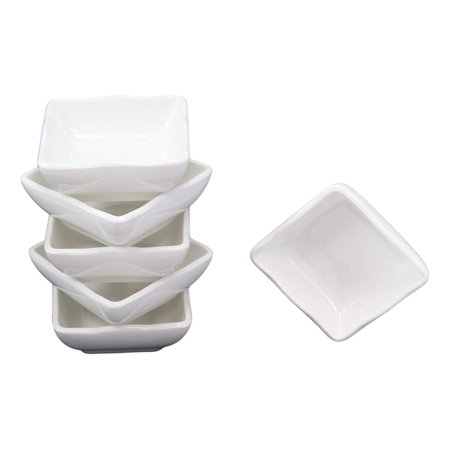 Ebros Contemporary Wavy Artistic Design White Porcelain Condiments Ketchup Mustard BBQ Soy Sauce Dipping Bowl or Dish 2oz Housewarming Gifts For Sushi Chips Dining Restaurant Supply Pack of 6 Bowls Wavy Rim Bowl Set