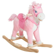 Qaba Kids Plush Toy Rocking Horse Ride on with Realistic Sounds, Pink