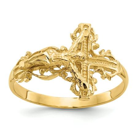 14K Yellow Gold Diamond-cut Crucifix Ring 14kt Gold Crucifix Ring