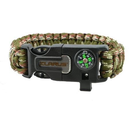 Klarus Paracord Survival Bracelet Compass, Whistle, & Flint -