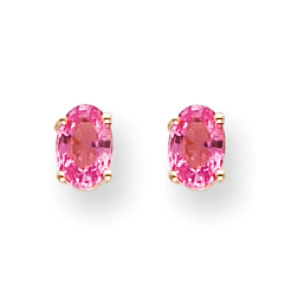 14k Yellow Gold Pink Sapphire Earrings 1.00 cwt by Kevin Jewelers