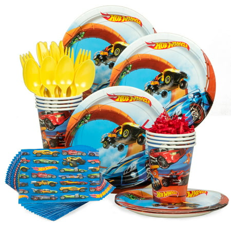 1st Birthday Boy Party Supplies (Hot Wheels Wild Racer Birthday Party Standard Tableware Kit (Serves 8) - Party)