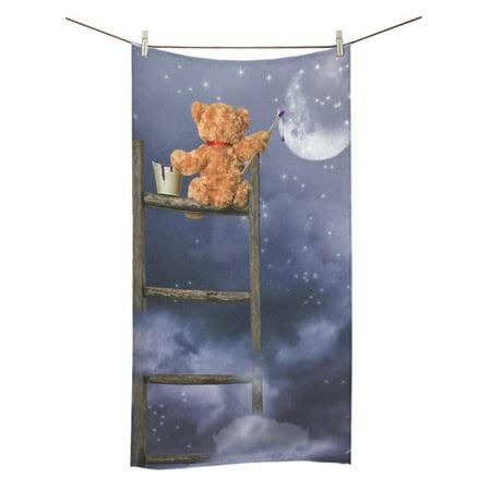 MYPOP Bear Sitting on a Ladder Painting Shower Towel Bathroom Bath Towel 30x56 inches ()
