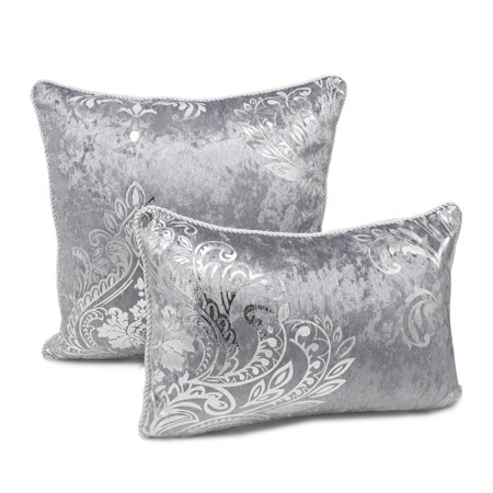 Stunning Silk Velvet Foil Floral Decorative Throw Pillow-Set of 2 (Grey+Silver, Case Only) - Decorative Tins