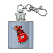 Cat Bobsleigh Bobsled Team Winter Sport Canada Stainless Steel 1oz Mini Flask Key Chain