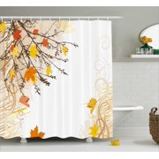Nature Shower Curtain Autumn Maple Leaves Branches In Fall Earthen Tones Faded Woodland Art Print