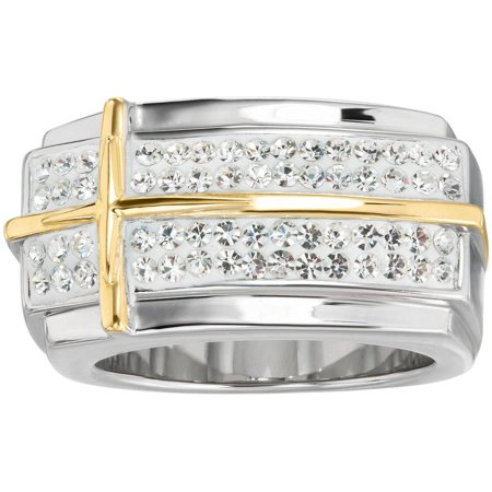 Men's Stainless Steel Crystal with Cross Ring, Size 11
