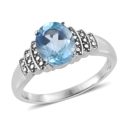 Oval 2 Rings - Stainless Steel Oval Sky Blue Topaz Statement Ring for Women Cttw 2 Jewelry Gift