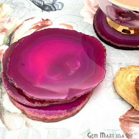 Pink Agate Coaster, Coaster Set, Rock Coaster, Agate Slice Drink Coaster Pink Agate Slice