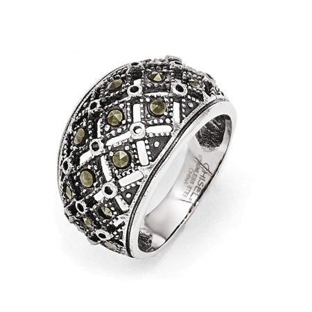 Stainless Steel Polished and Antiqued Marcasite Ring Size 6