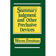Summary Judgment and Other Preclusive Devices (Hardcover)
