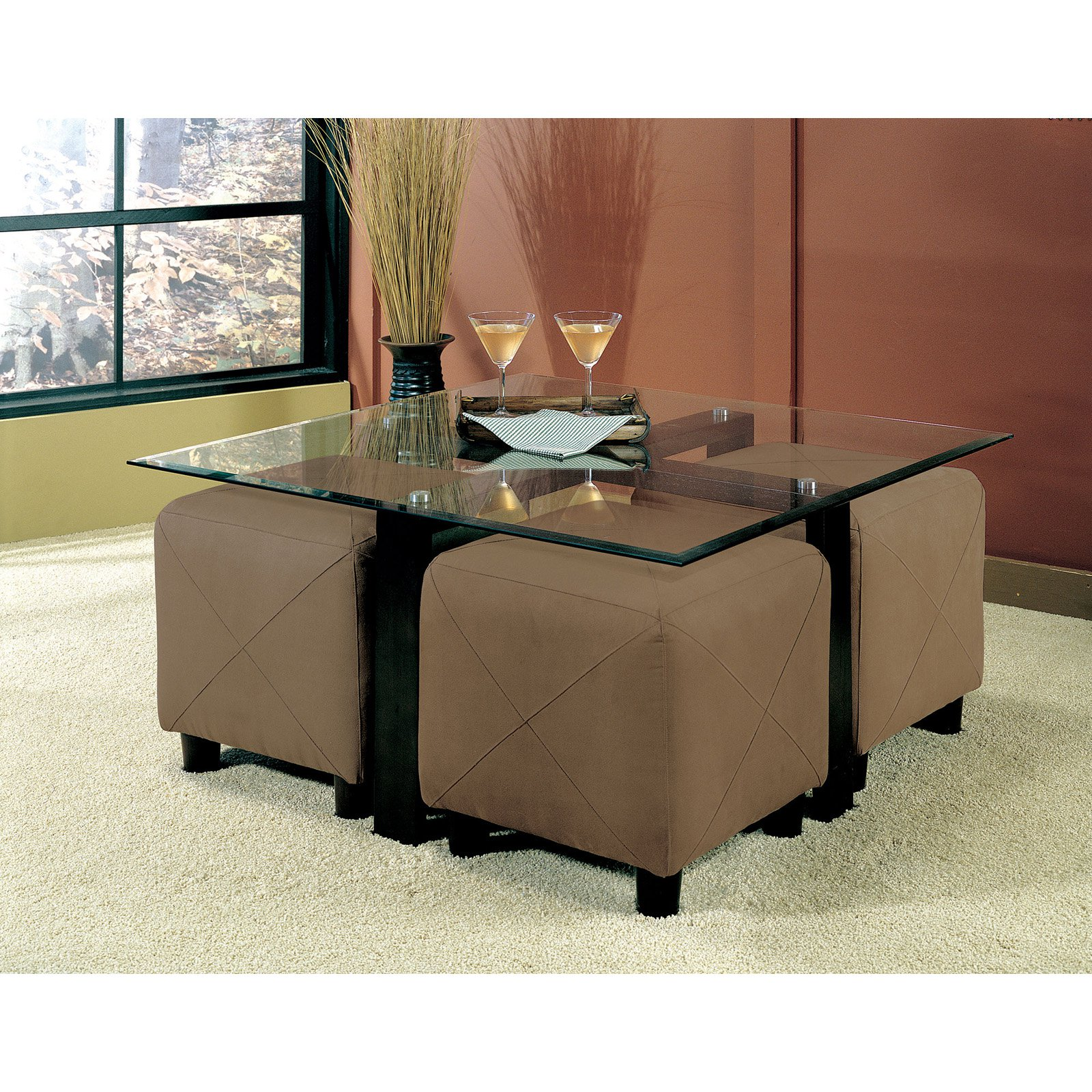 Coaster Furniture Glass Top Square Coffee Table