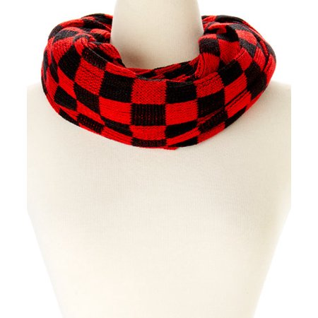 Amtal Women Crochet Knit Plaid Checkered Design Soft Casual Infinity Scarf