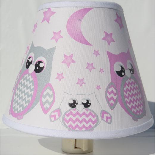 Pink Owl Night Lights / Owl Nursery Decor with Stars and Moons