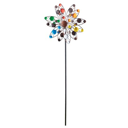 Colorful Confetti Solar Lighted Double Sided Kinetic Wind Spinner Garden Art Stake, 47 5/8