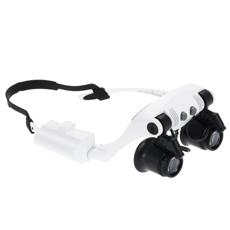 Portable Head Wearing Magnifying Glass 10x 15x 20x 25x LED Double Eye Jeweler Watch Clock Repair Magnifier Loupe with 2 LED Light