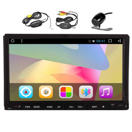 Pure Android 6.0 Car DVD Player 7'' Capacitive Touchscreen Double Din Car Stereo with GPS Navigation In Dash Bluetooth Radio Audio Receiver Support Mirrorlink WiFi with Wireless Backup (In Dash Touch Screen Radio With Gps)