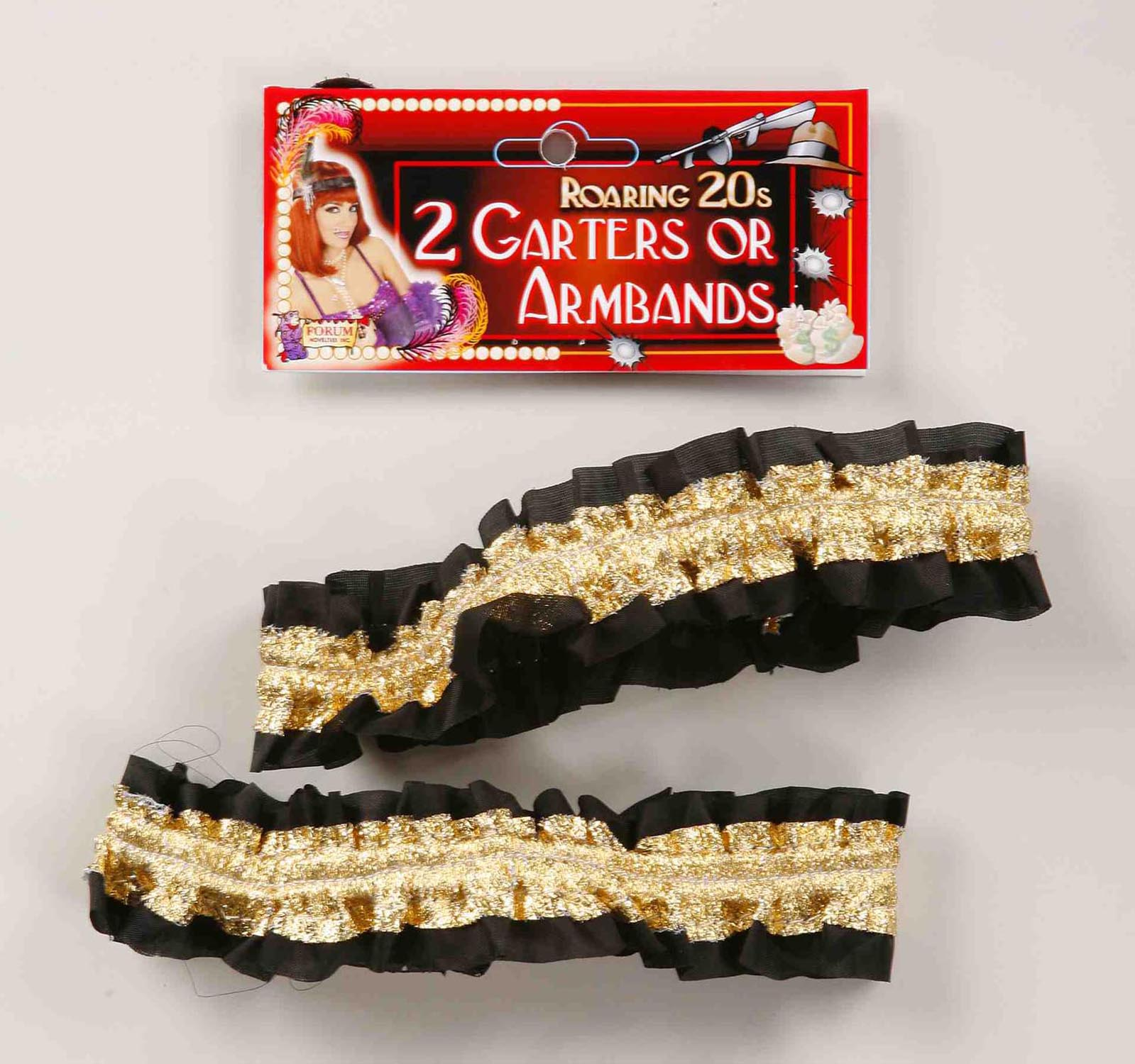 Roaring 20's Shiny Gold And Black Costume Garters Or Armbands