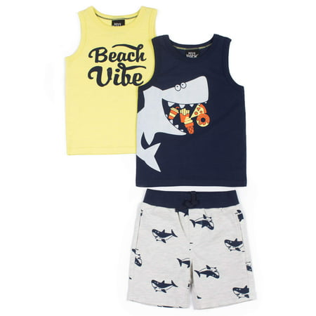 Baby Toddler Boy Tank Tops & French Terry Shorts, 3pc Outfit Set