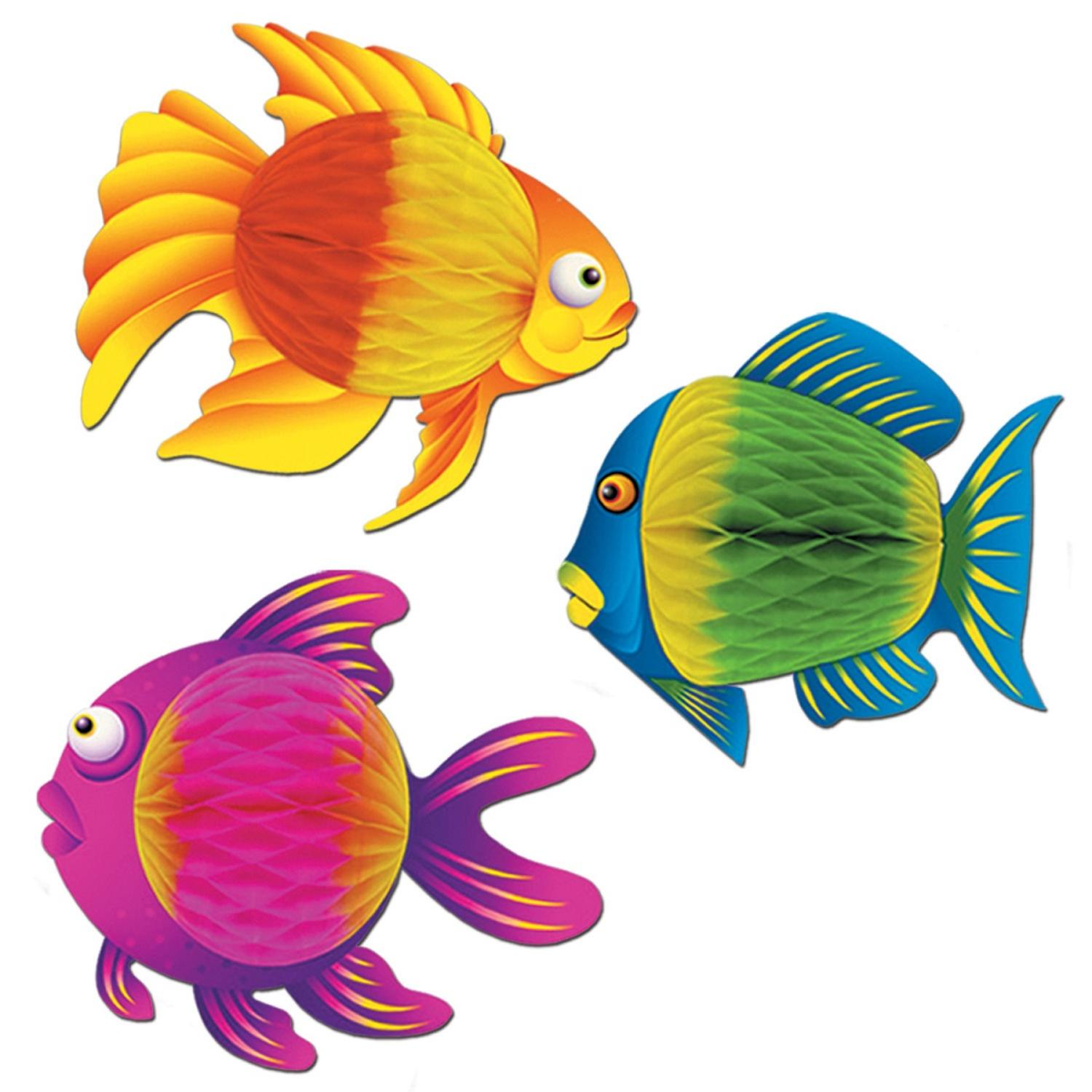 """Club Pack of 12 Vibrant Color-Brite Tropical Fish Hanging Decorations 8"""""""