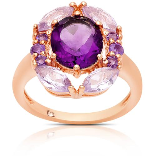 Dolce Giavonna  Rose Gold Over Silver Amethyst Cocktail Ring