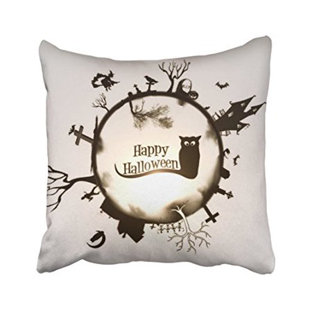 WinHome Vintage Fashion Happy Halloween Owl Witch House Cross Pumpkin Moon Polyester 18 x 18 Inch Square Throw Pillow Covers With Hidden Zipper Home Sofa Cushion Decorative Pillowcases