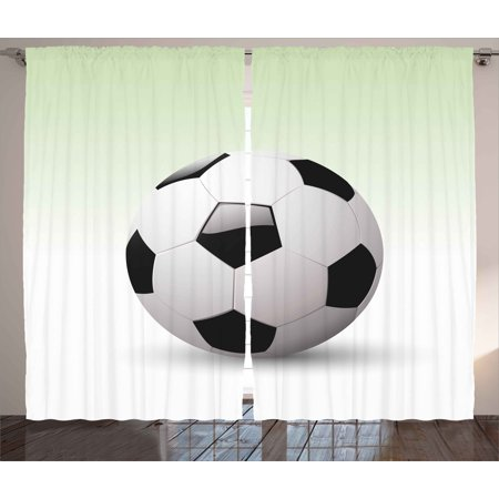 Sports Curtains 2 Panels Set, Vector Image of Football Soccer Ball Artwork with Green Ombre Background Image, Window Drapes for Living Room Bedroom, 108W X 84L Inches, Black and White, by Ambesonne