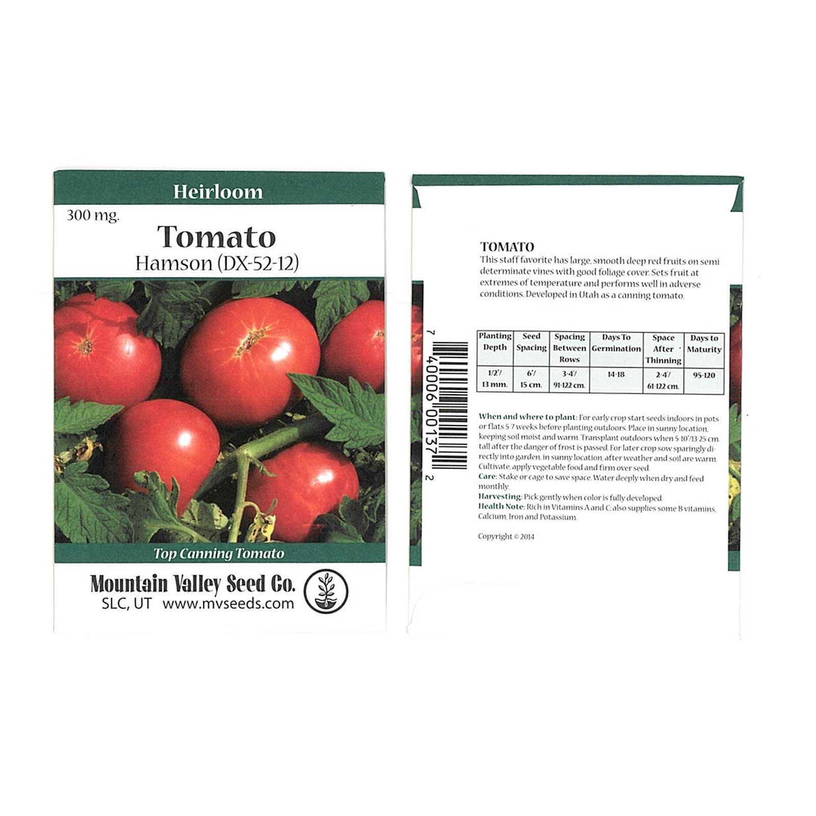 Tomato Garden Seeds - Hamson (DX-52-12) - 300 mg Packet - Non-GMO, Heirloom, Vegetable Gardening Seed