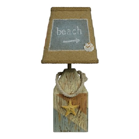 """Set of 2 Nautical Starfish and Shell Accent Table Lamp with White Burlap Shade 14"""" ()"""