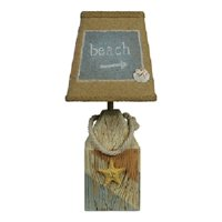 """14"""" Nautical Starfish and Shell Accent Table Lamp with White Burlap Shade"""