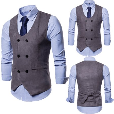 Men Formal Business Suit Vest Slim Wedding Casual Waistcoat Vintage Jacket Coat Gray -