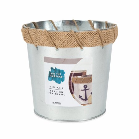 On the Surface Tin Pail with Burlap Detail, 1 Each