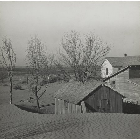 Soil Blown By Dust Bowl Winds Piled Up In Large Drifts On A Kansas Farm March 1936 Photo By Arthur Rothstein - History ()